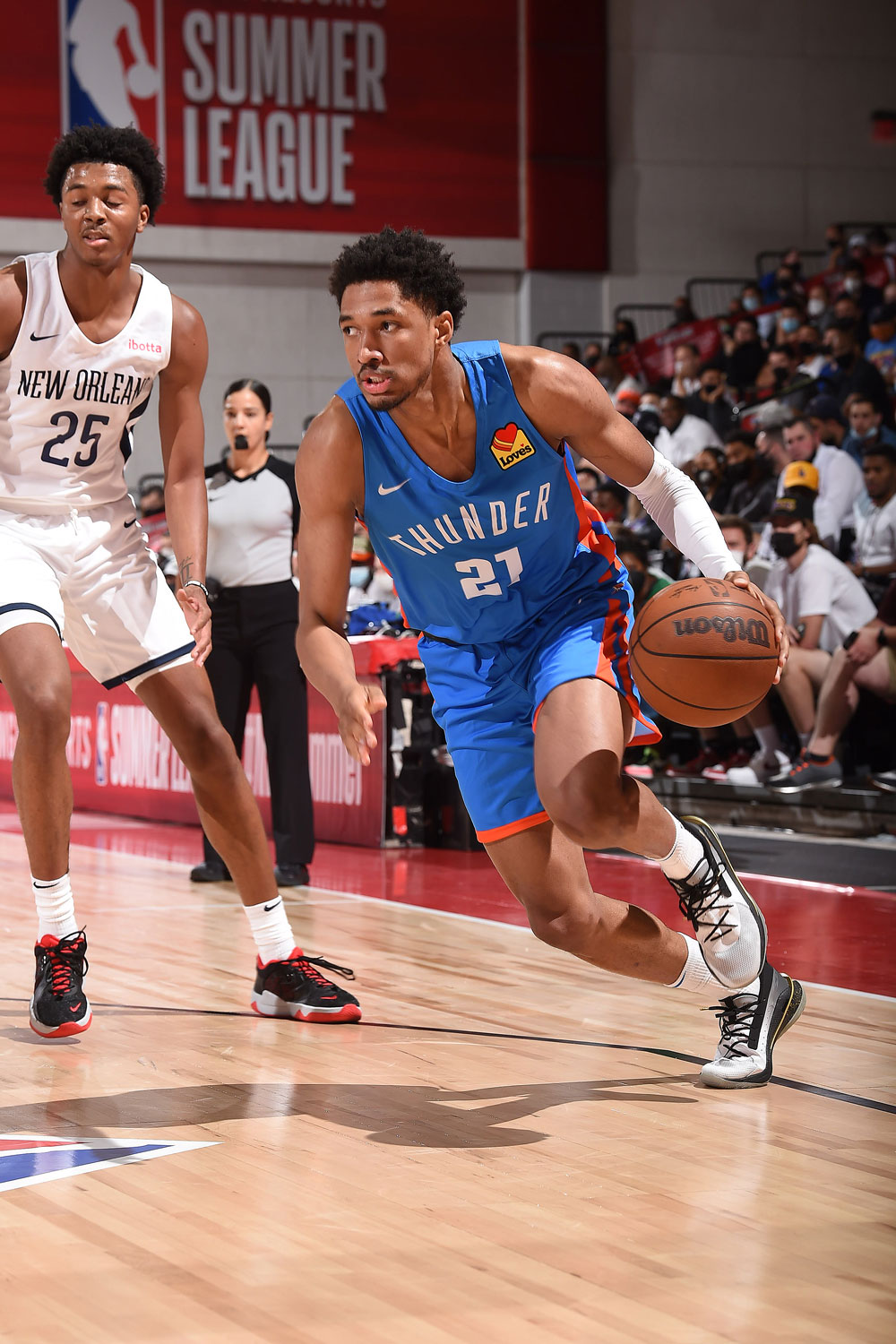 Action shots from Wednesday's Thunder-Pelicans clash in Summer League action.(Photo by David Dow | NBAE via Getty Images)