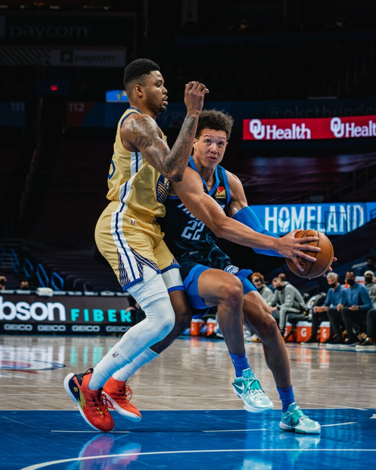 Six Thunder players scored in double-figures in Wednesday's 147-109 loss to the Warriors. OKC plays in Detroit on Friday.(Photo by Coby Van Loan | OKC Thunder)