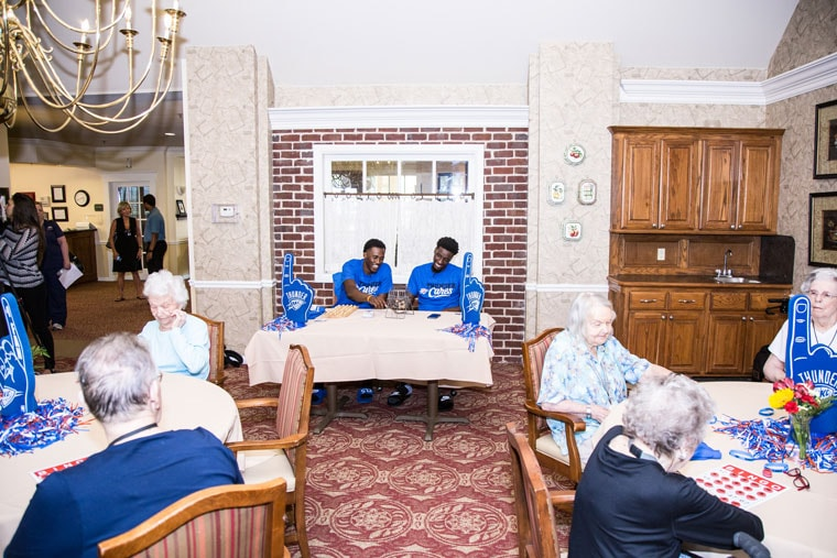 BINGO! Semaj Christon And Daniel Hamilton Join Brookdale Residents For A  Fun Afternoon.(