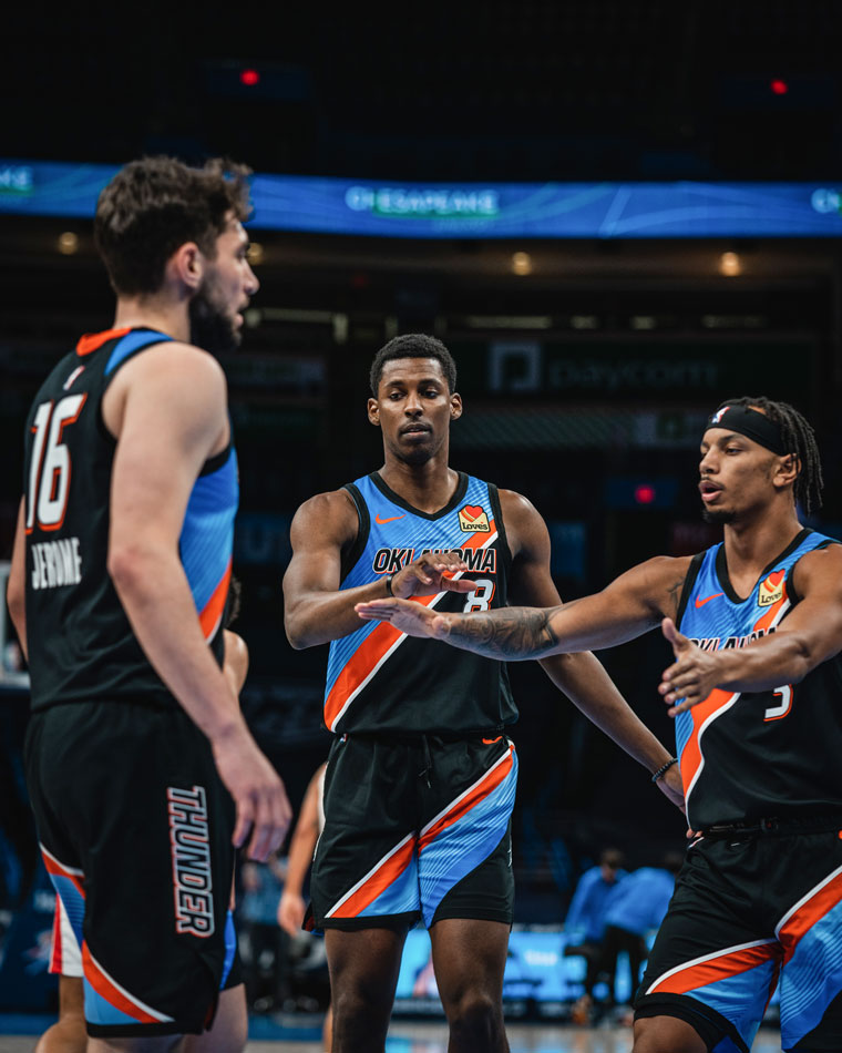 OKC rallied from as many as 27 points down to single-digits, but couldn't keep up with Detroit in Monday's 132-108 loss.(Photo by Coby Van Loan | OKC Thunder)
