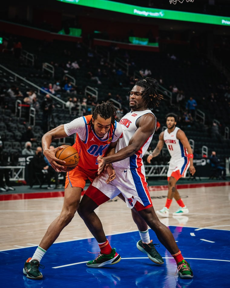 The Thunder battled to the end, but turnovers were too costly in Friday's 110-104 loss in Detroit. (Photo by Coby Van Loan   OKC Thunder)