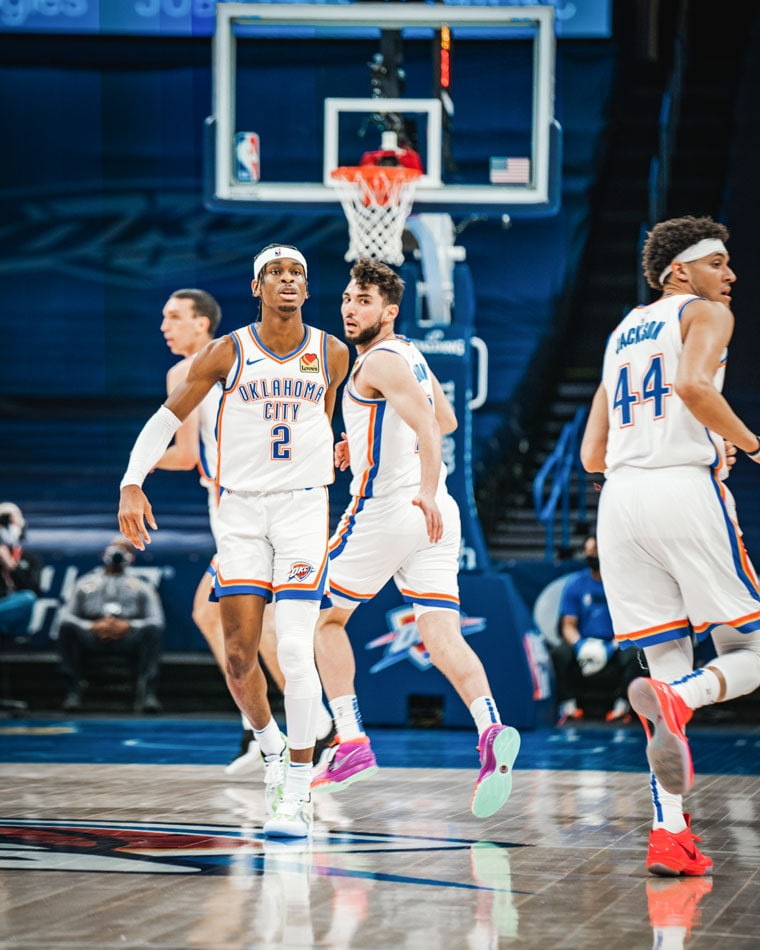 Down double-digits after three quarters, OKC erupted for 38 points in the 4th to rally for a 128-122 win over the Grizzlies.(Photo by Coby Van Loan | OKC Thunder)