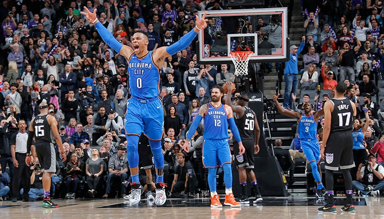 Russ Delivers When it Counts  OKC 110 SAC 107