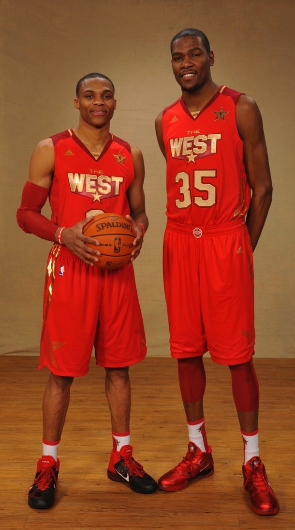 d0522129fd84 Thunder players Russell Westbrook and Kevin Durant pose prior to the Los  Angeles All-Star