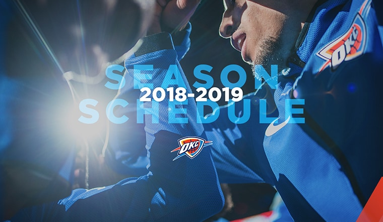 graphic about Okc Thunder Printable Schedule titled Thunder Announces 2018-19 Timetable Oklahoma Town Thunder