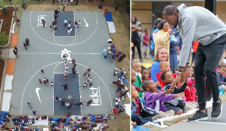 Durant Unveils First U S Basketball Court At Okc