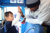 THUNDER: Serge Ibaka Joins Book Bus Visit