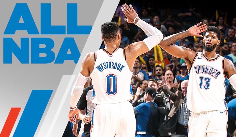 Westbrook, George Earn All-NBA Honors