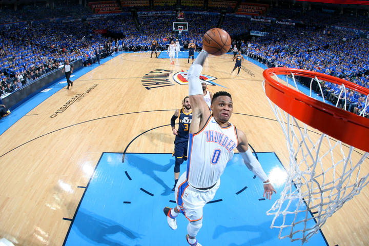 ... APRIL 15  Russell Westbrook  0 of the Oklahoma City Thunder dunks the  ball against the Utah Jazz during Game One of Round One of the 2018 NBA  Playoffs ... 6b0b3d131
