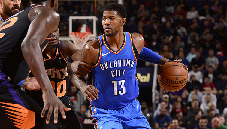 george dominates teammates play major role in road win okc 110