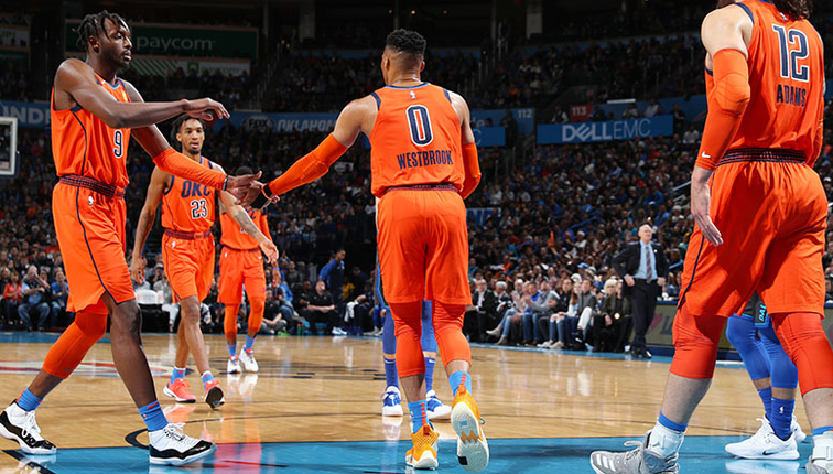 Steven Adams, Thunder team-mates and fans revel in Russell Westbrook's hot display