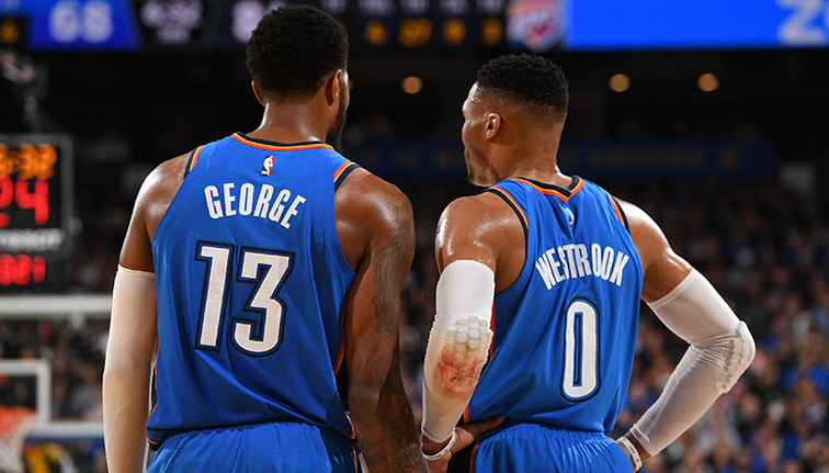 Paul George scores 29 points with 9 rebounds for short-handed Thunder