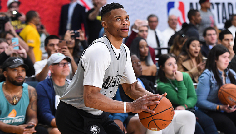 Kevin Durant, Russell Westbrook warm up together prior to All-Star Game