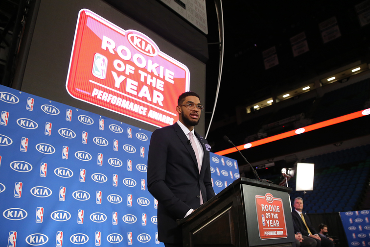Karl-Anthony Towns presented with the 2015-2016 KIA NBA Rookie of the Year Award