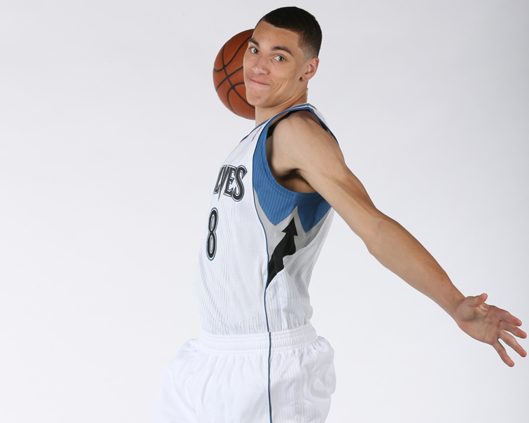 Zach LaVine shows off his jump/dunk for media