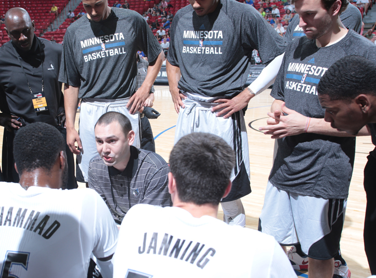 Wolves Summer League squad huddles during the team's game against the Chicago Bulls