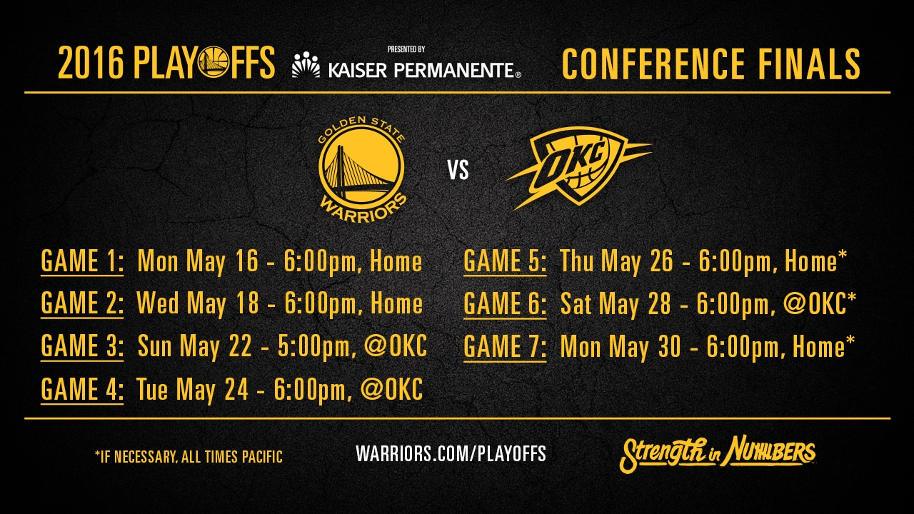 warriors announce tv & radio schedule for western conference finals