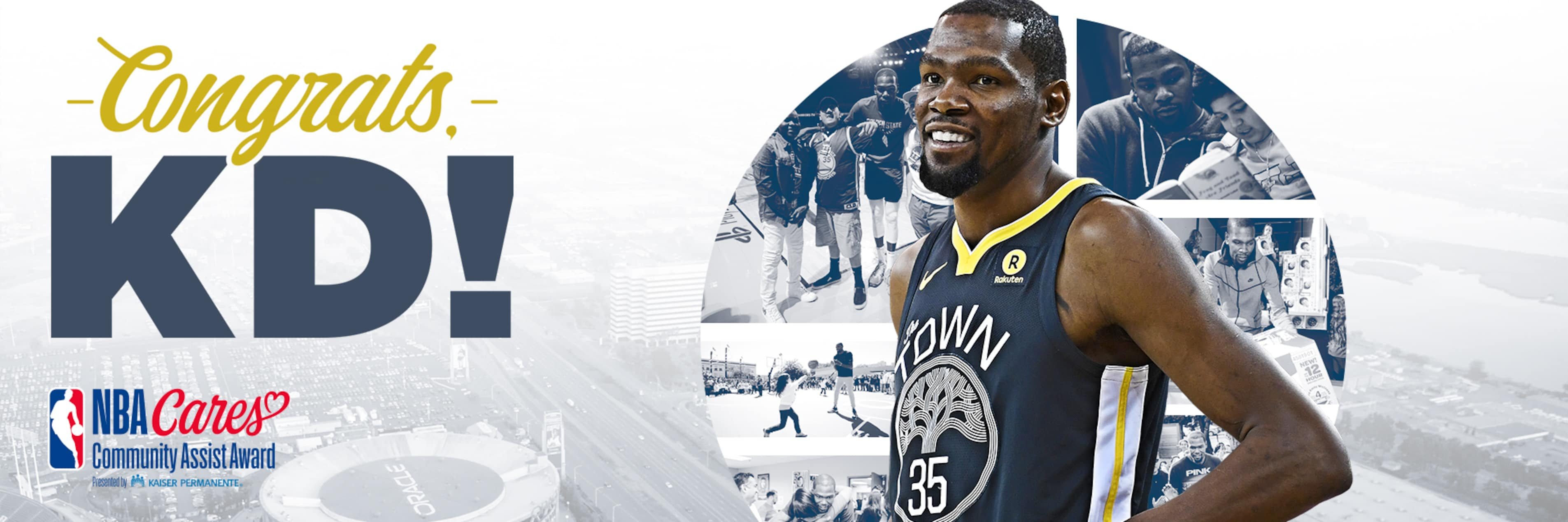 Kevin Durant Receives Seasonlong NBA Cares Community Assist Award Presented by Kaiser Permanente