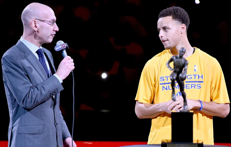 NBA Commissioner Adam Silver Presented Curry With The Maurice Podoloff Trophy In An MVP Ceremony Prior