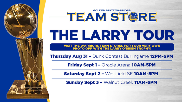 Warriors to Continue Trophy Tour at Team Stores on Labor Day Weekend