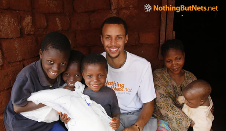 """807bde2a41dd Warriors Guard Stephen Curry Continues """"Three for Three Challenge""""  Benefiting Nothing But Nets for 2015-16 Season"""