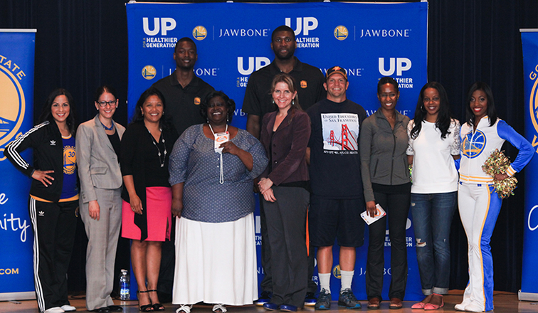 Warriors Forward Harrison Barnes and Center Festus Ezeli Join Jawbone to Launch UP for a Healthier Generation Program at Sheridan Elementary School in San Francisco