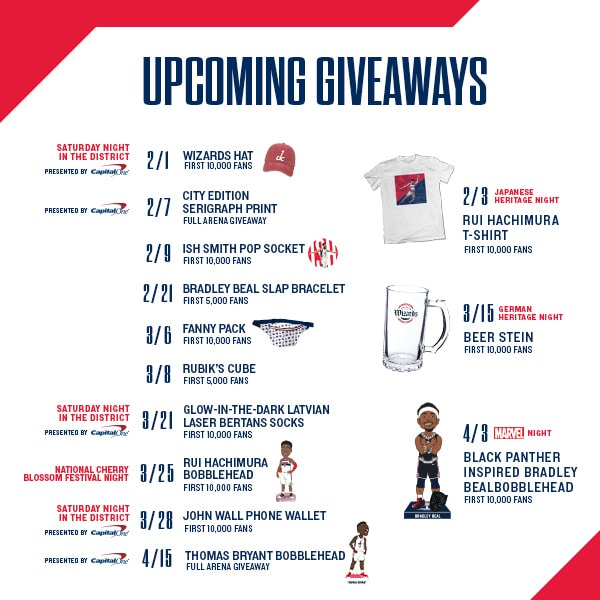 Calendar of upcoming weekend game giveaways