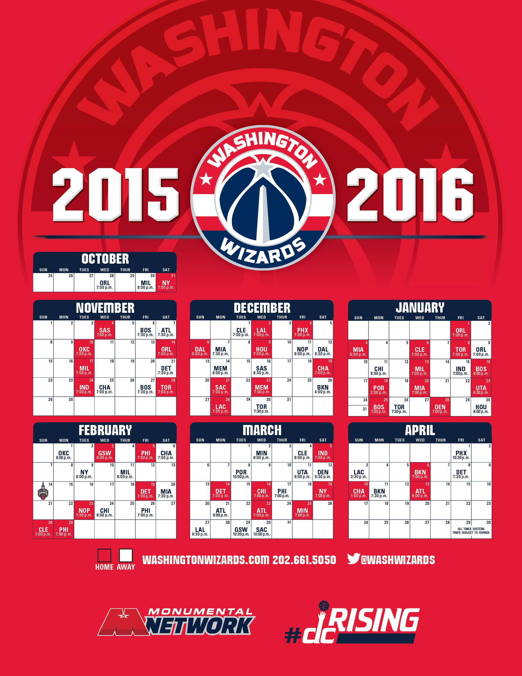wizards home schedule
